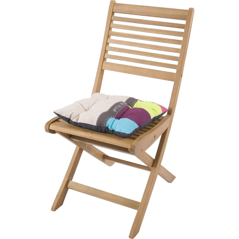 Coussin d 39 assise de chaise ou de fauteuil jardin prive imprim multicolo - Fauteuil jardin leroy merlin ...