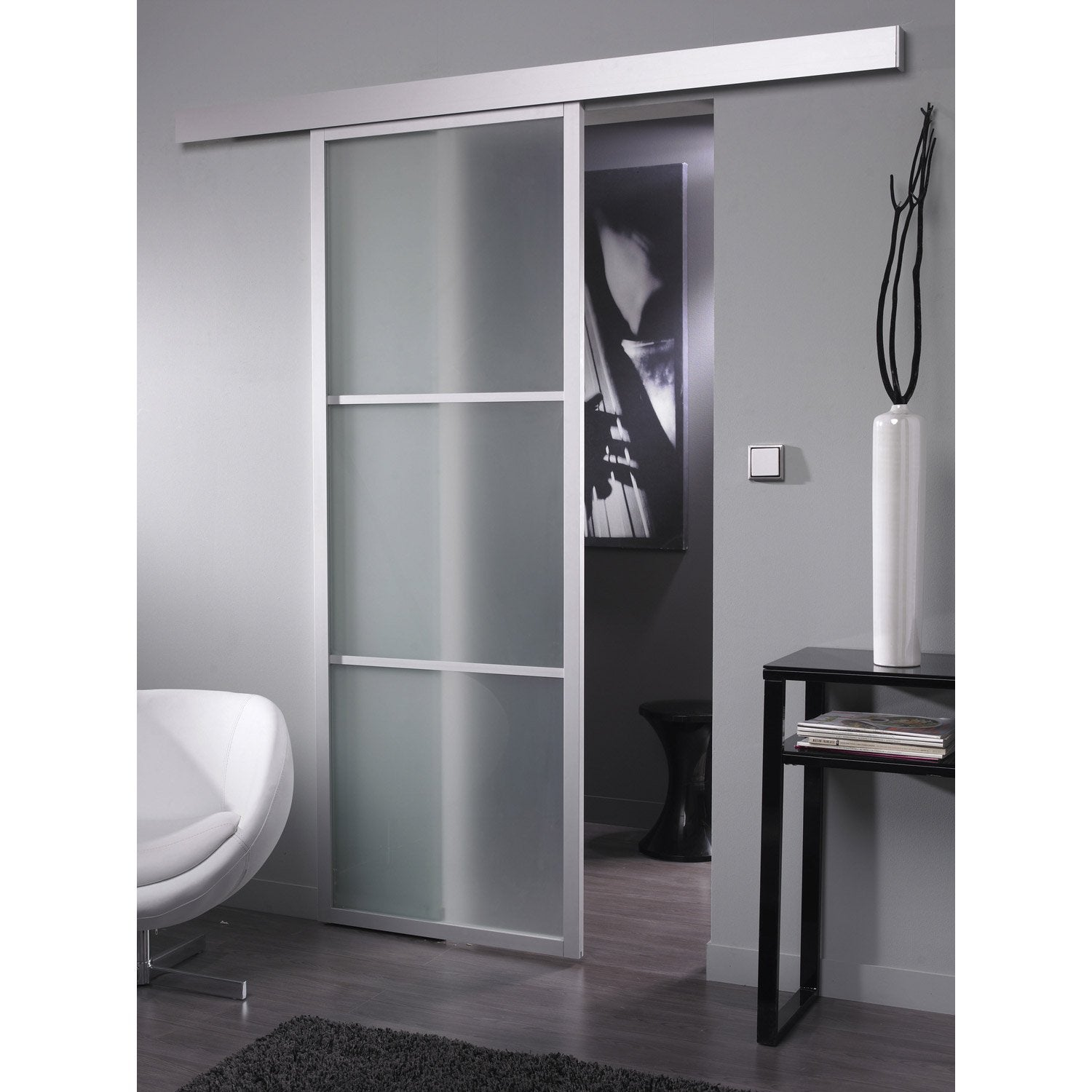 Ensemble porte coulissante aspen aluminium avec le rail for Porte coulissante salon ikea
