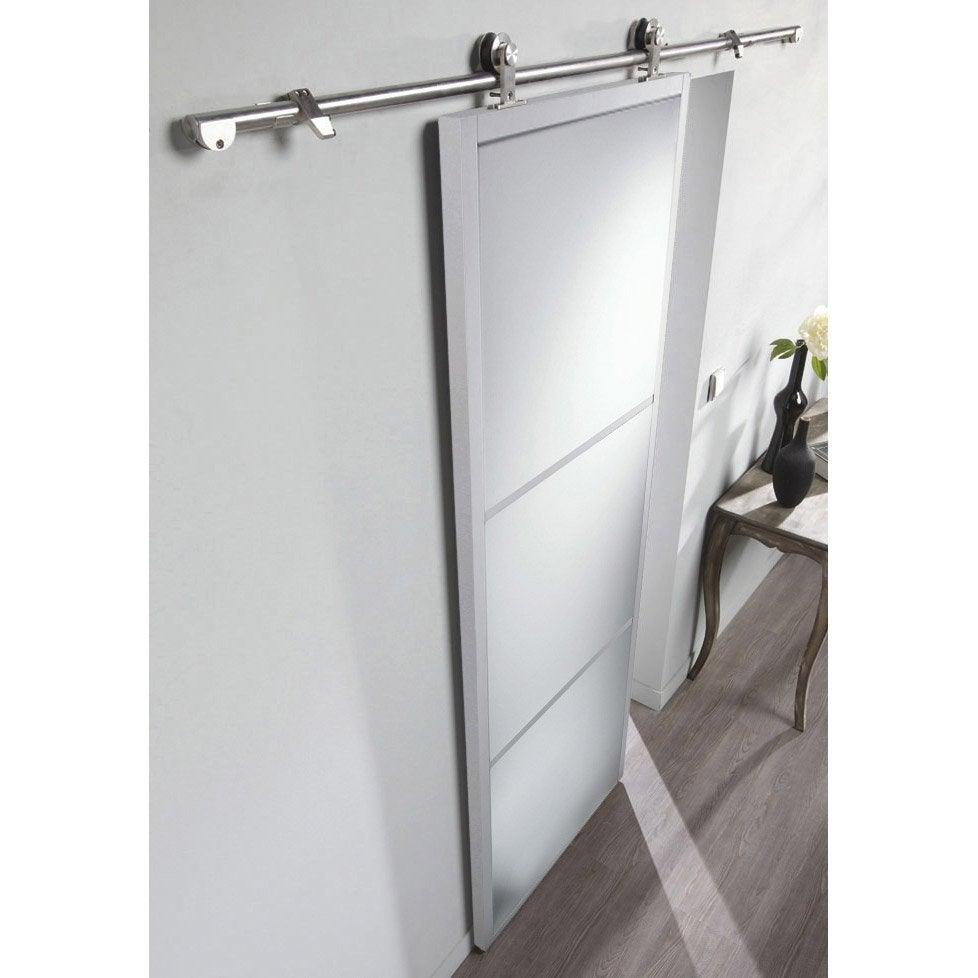 Ensemble porte coulissante aspen aluminium avec le rail techno bois en alumin - Ensemble porte coulissante ...