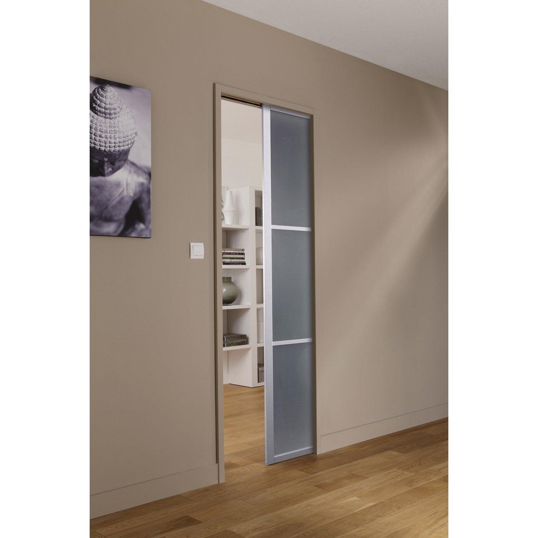 Ensemble porte coulissante aspen aluminium avec galandage artens 2 en aluminium leroy merlin - Porte a galandage bois ...