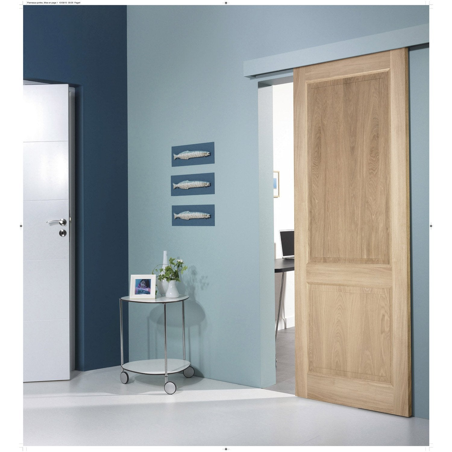 Ensemble Porte Coulissante Bruges Plaqu Ch Ne Avec Le Rail Turbo 2 En Aluminium Leroy Merlin
