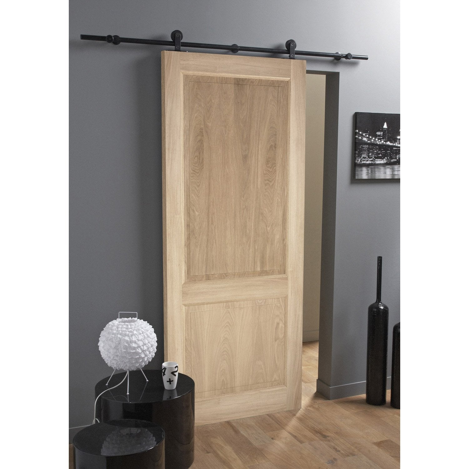 Ensemble porte coulissante bruges plaqu ch ne rail for Porte bois exterieur leroy merlin