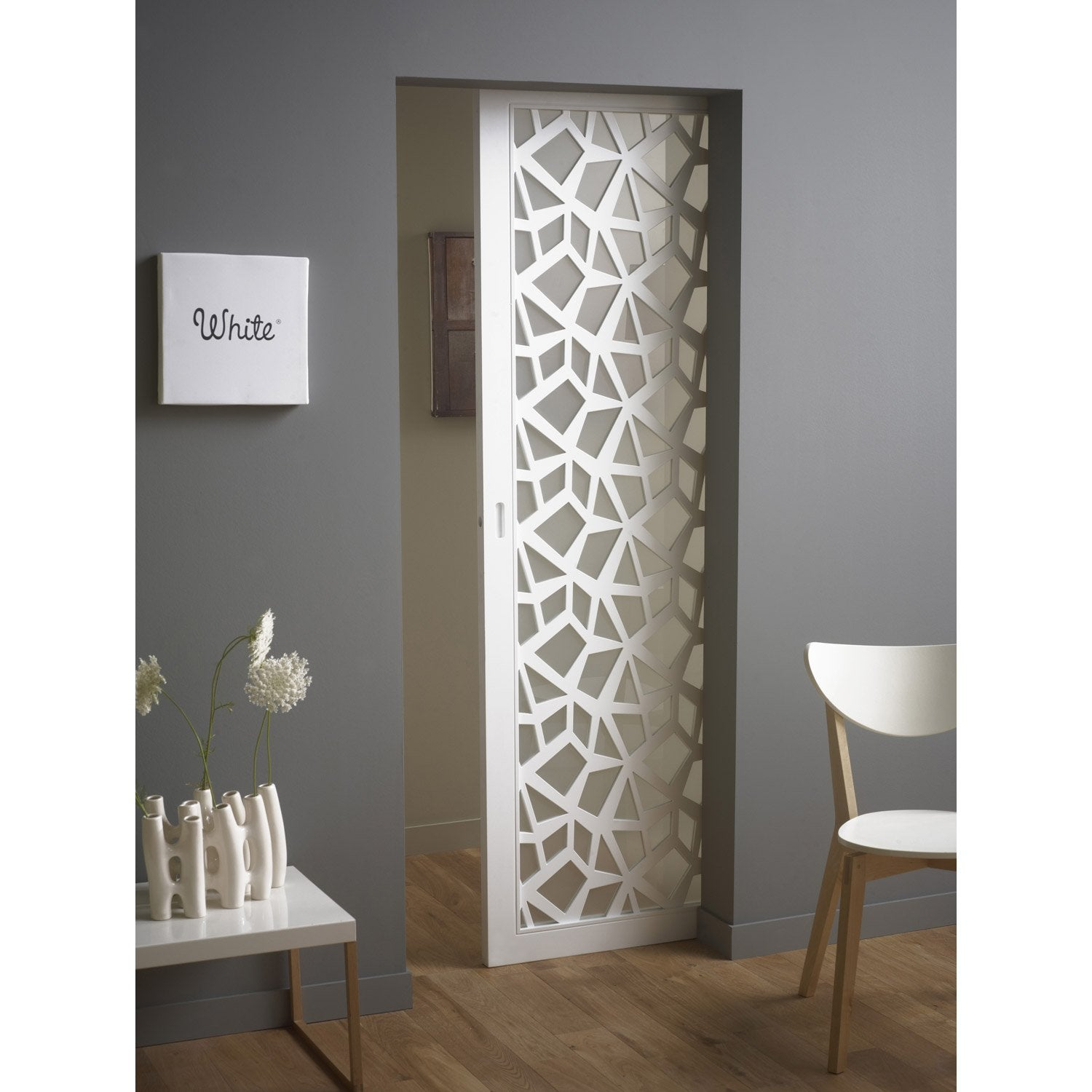 Ensemble porte coulissante crash verre et mdf laqu for Porte de salon leroy merlin