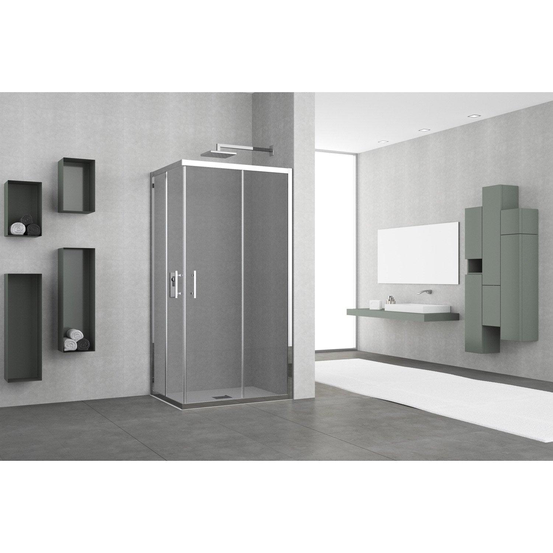 porte de douche coulissante angle rectangle x cm fum elyt leroy merlin. Black Bedroom Furniture Sets. Home Design Ideas