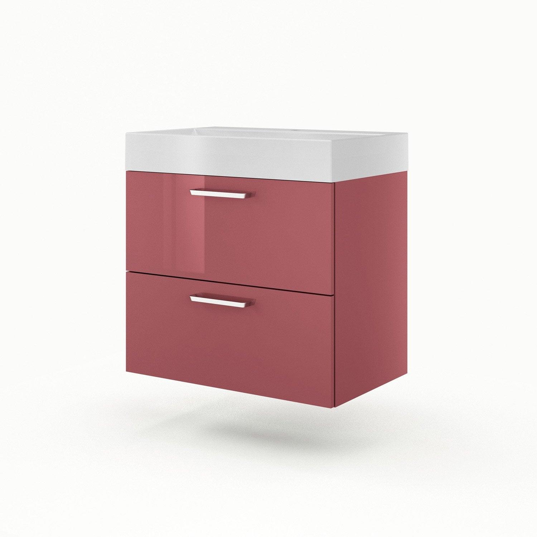 meuble sous vasque x x cm rouge sensea neo line leroy merlin. Black Bedroom Furniture Sets. Home Design Ideas