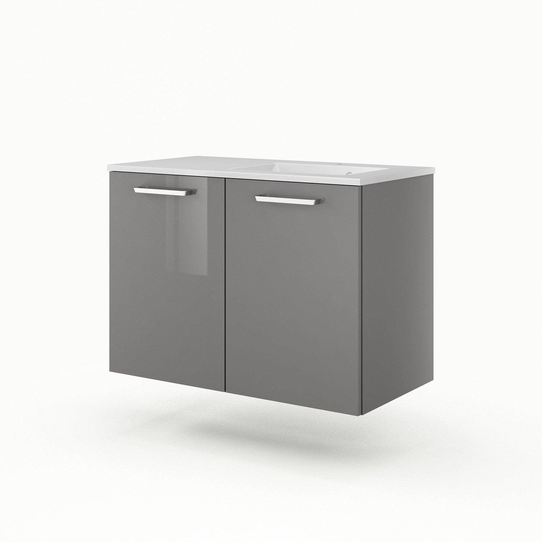 meuble vasque 91 cm gris neo line leroy merlin. Black Bedroom Furniture Sets. Home Design Ideas