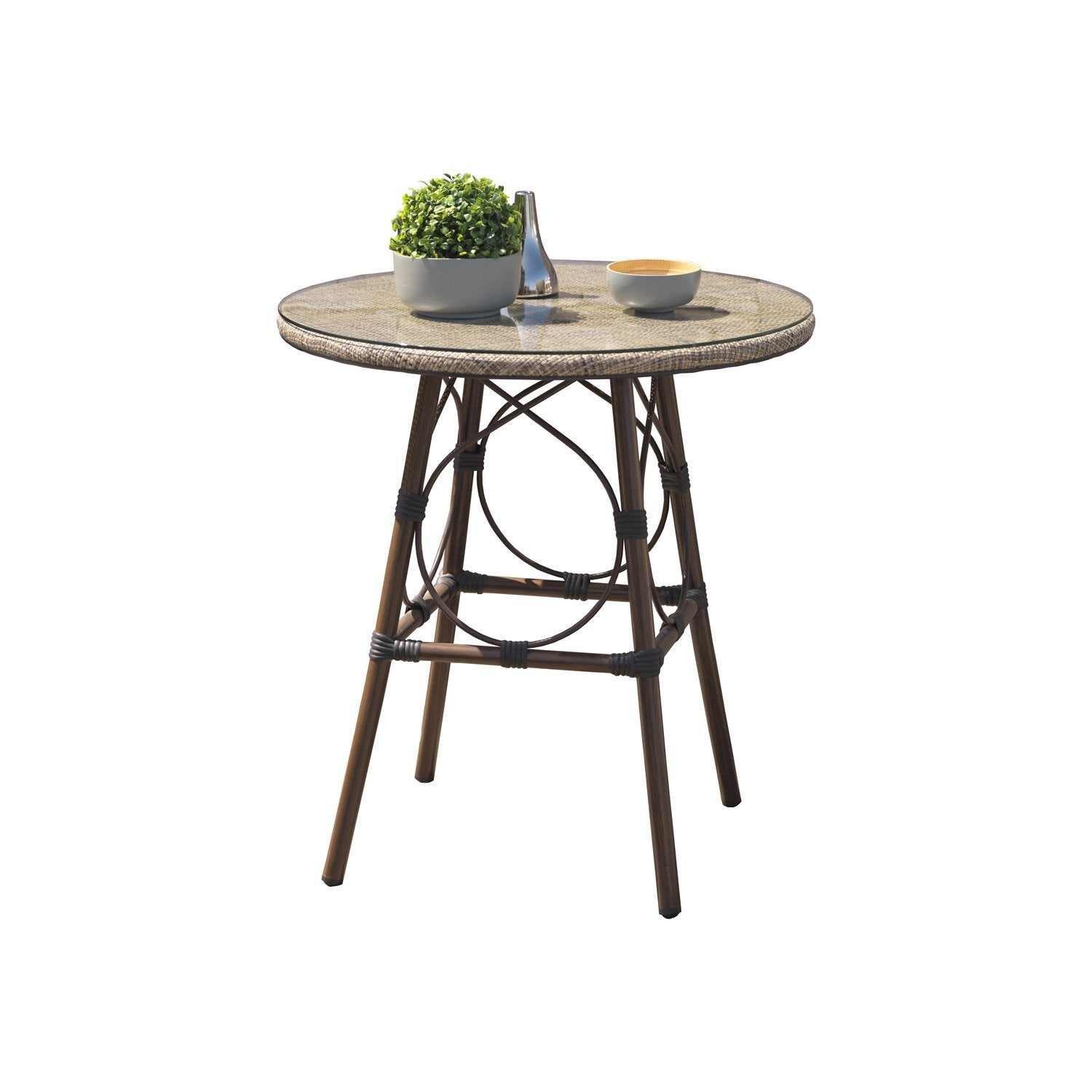 Table de jardin marius ronde lin 2 personnes leroy merlin - Leroy merlin table pliante ...