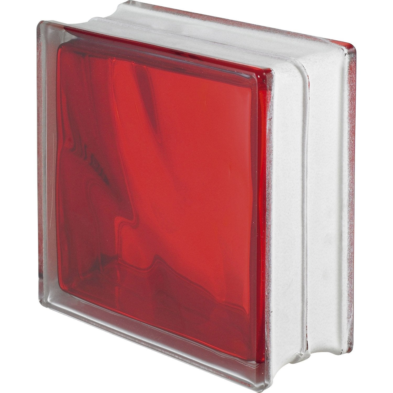 brique de verre standard ondul e brillante rouge leroy. Black Bedroom Furniture Sets. Home Design Ideas