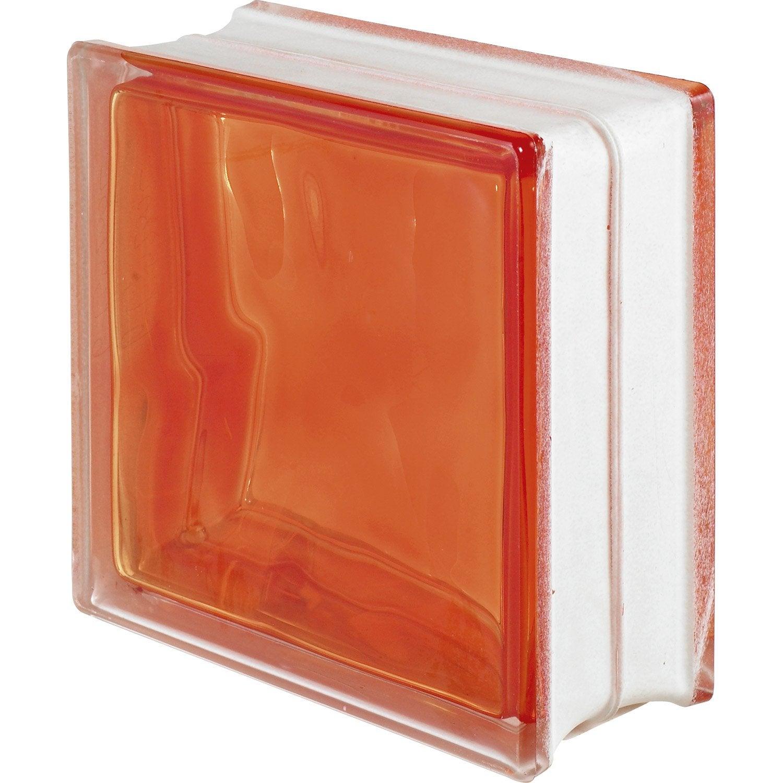 Brique de verre standard ondul e brillante orange leroy merlin - Brique de verre leroy merlin ...