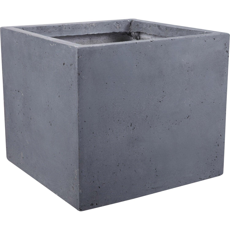 Pot fibre x x cm gris leroy merlin for Pot exterieur xxl