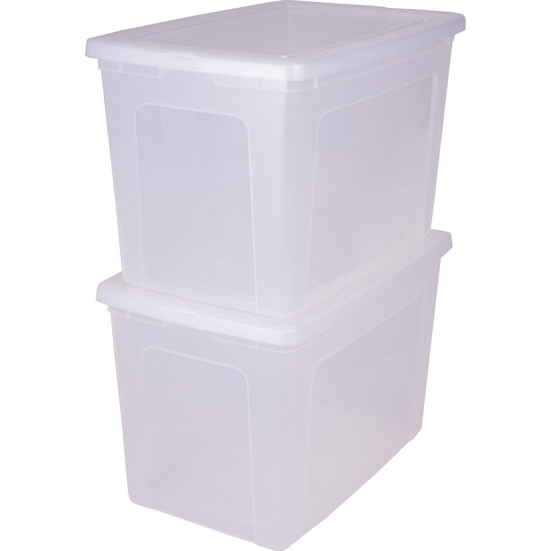 Bo te modular clear box plastique x x cm leroy merlin - Boite rangement leroy merlin ...