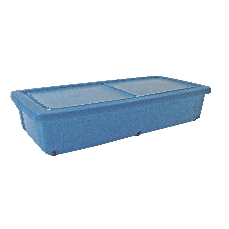 Dessous de lit modular clear box en plastique bleu l40xp80xh15cm 35l leroy merlin - Rangement sous lit leroy merlin ...