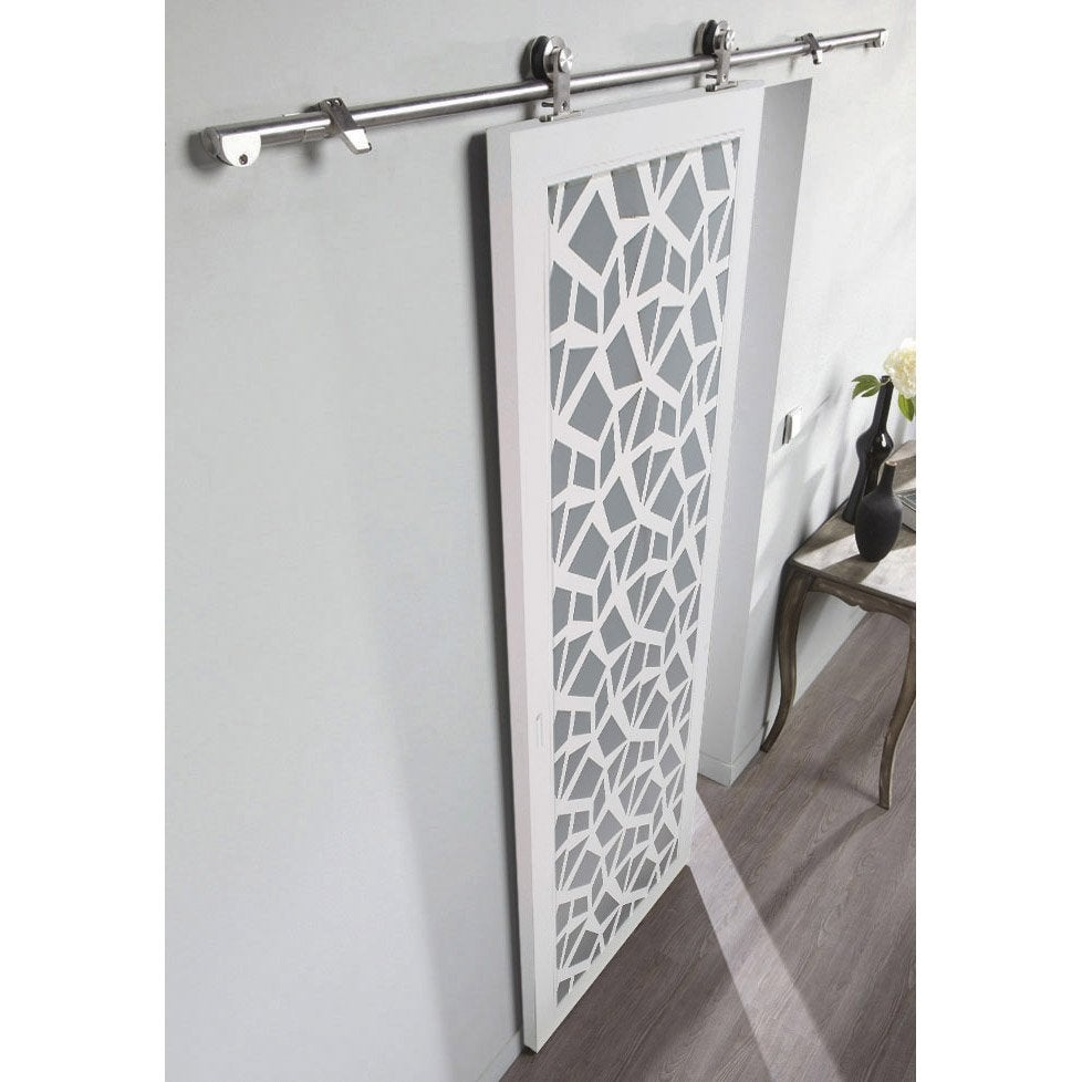 Ensemble porte coulissante crash verre et mdf rail techno for Porte en verre leroy merlin