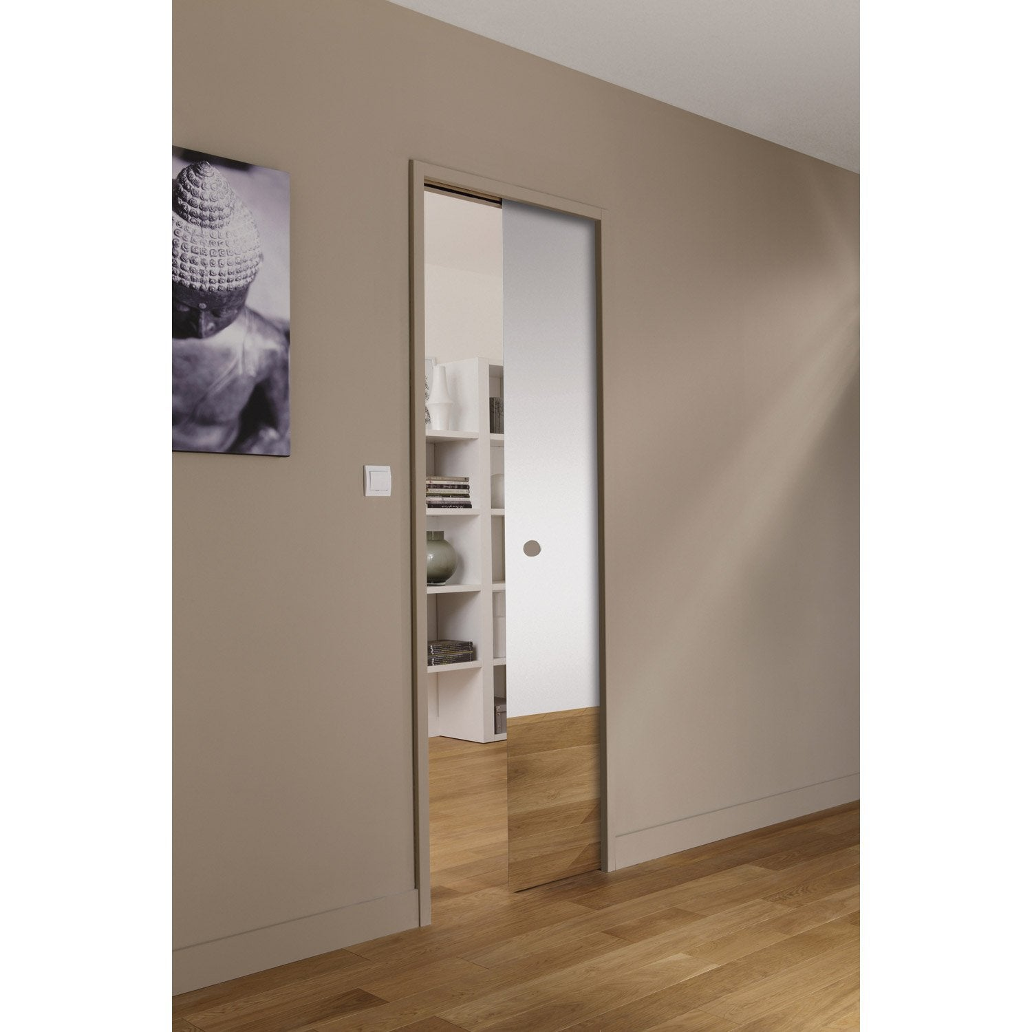 Ensemble porte coulissante denver verre givr avec le for Porte interieur brico plan it