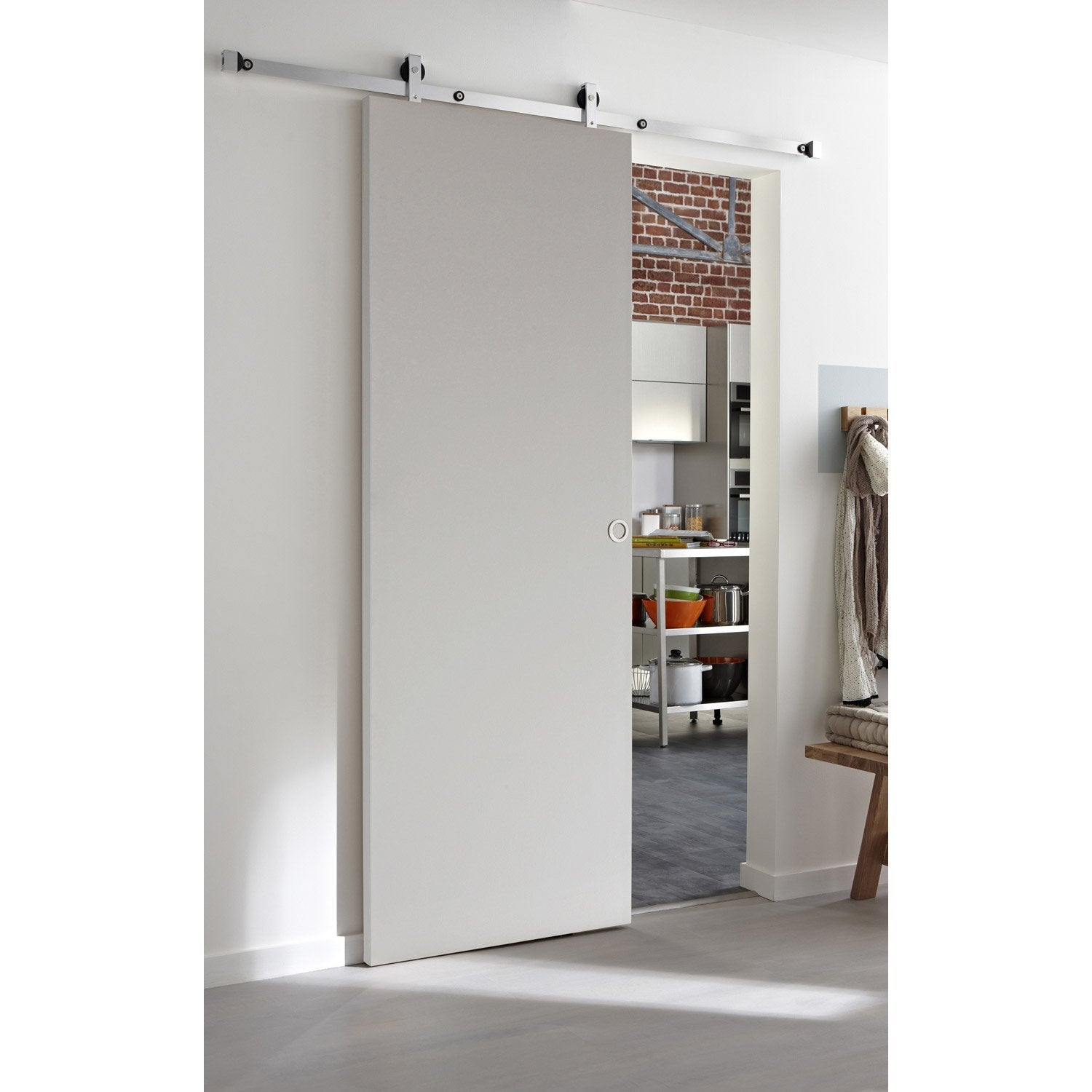 Ensemble porte coulissante isoplane avec le rail modern bois en aluminium l - Collection inspire leroy merlin ...