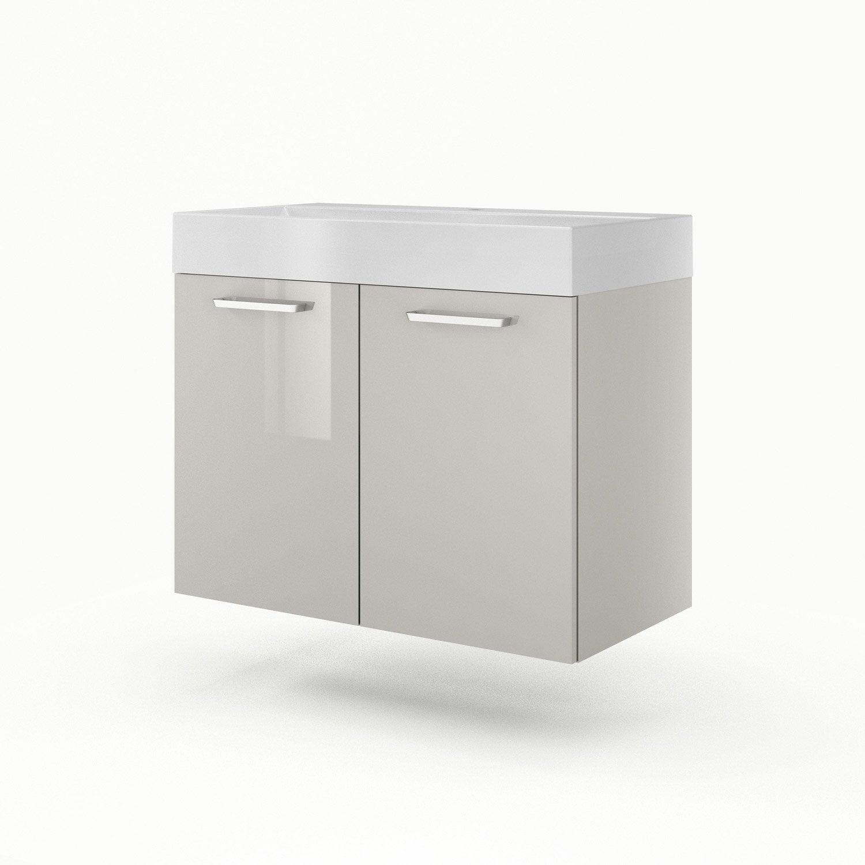 Meuble sous vasque x x cm taupe sensea - Leroy merlin meuble sous vasque ...