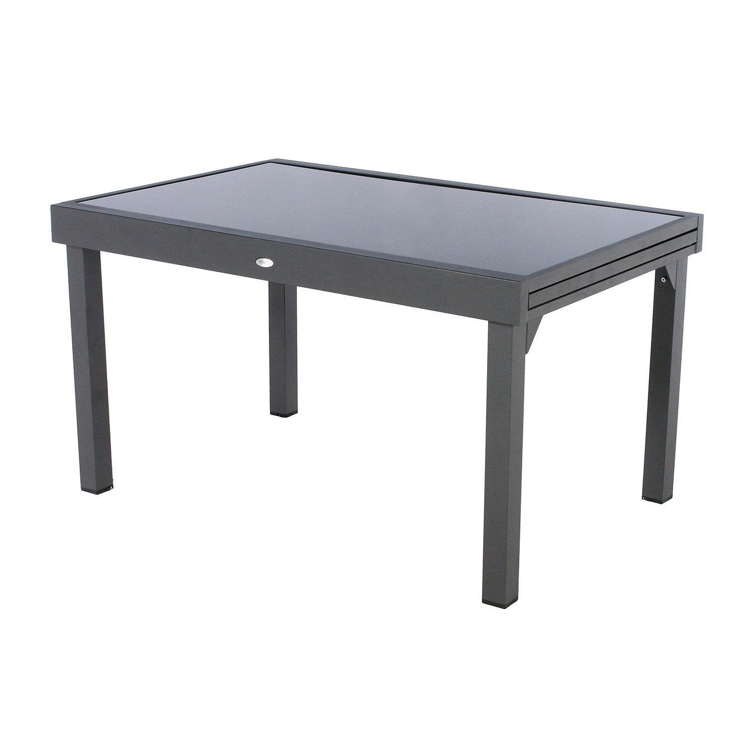 Table de jardin hesperide piazza rectangulaire gris 12 for Table extensible leroy merlin