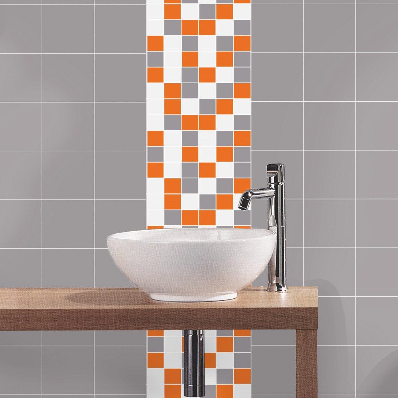 Mosa que astuce gris blanc orange cm leroy merlin for Mosaique piscine leroy merlin