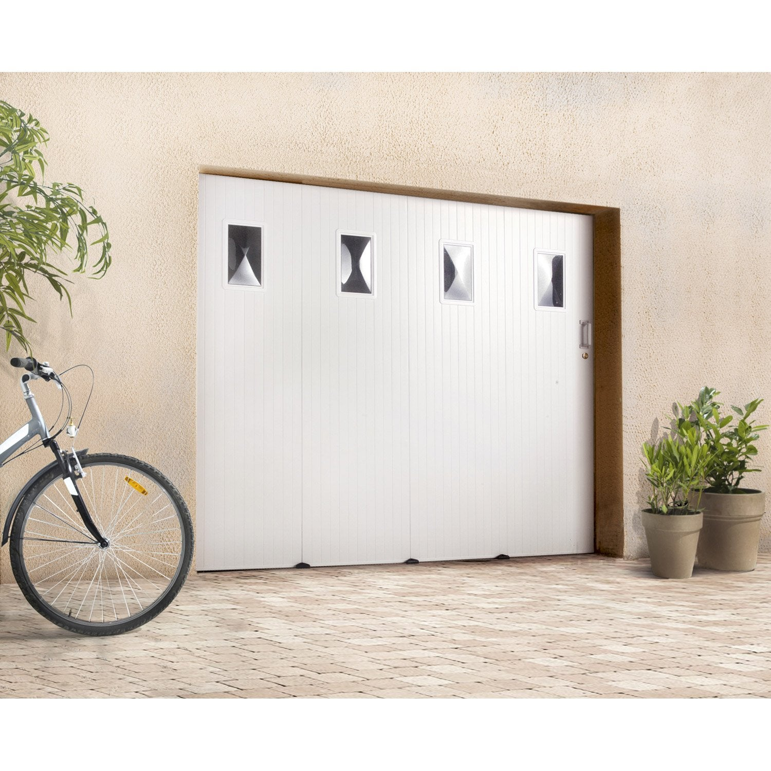 Porte de garage coulissante avec hublot primo x l for Avis porte de garage sectionnelle leroy merlin