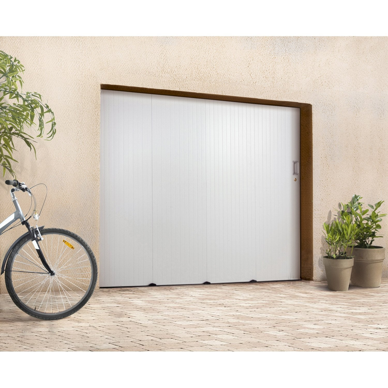 Porte de garage coulissante sans hublot primo pvc blanc 200 x 240cm leroy - Hublot porte de garage leroy merlin ...