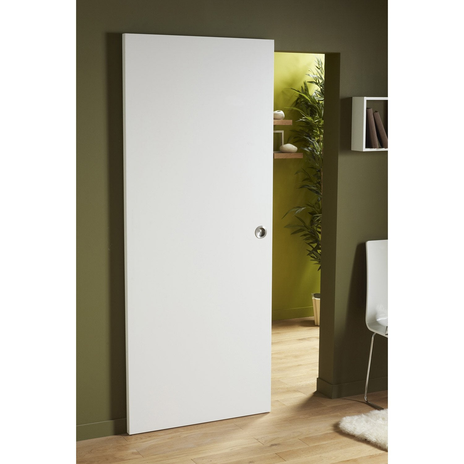 Ensemble porte coulissante lily mdf laqu avec le rail secret en aluminium - Rail coulissant leroy merlin ...