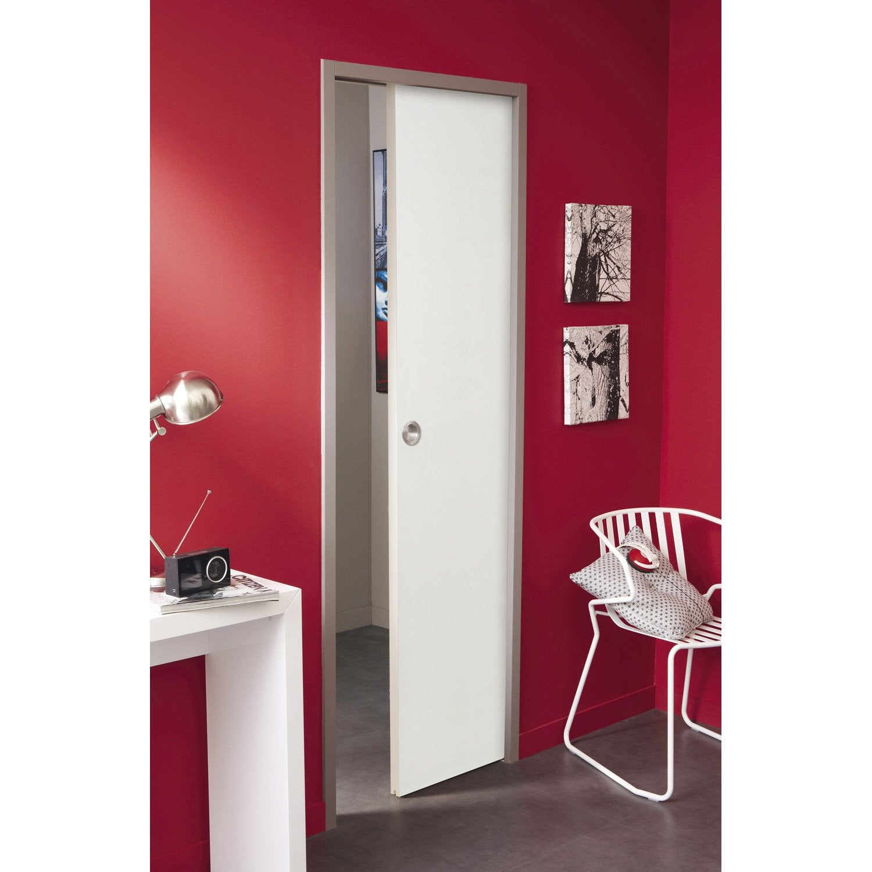 ensemble porte coulissante lily mdf laqu avec le galandage keza en aluminium leroy merlin. Black Bedroom Furniture Sets. Home Design Ideas