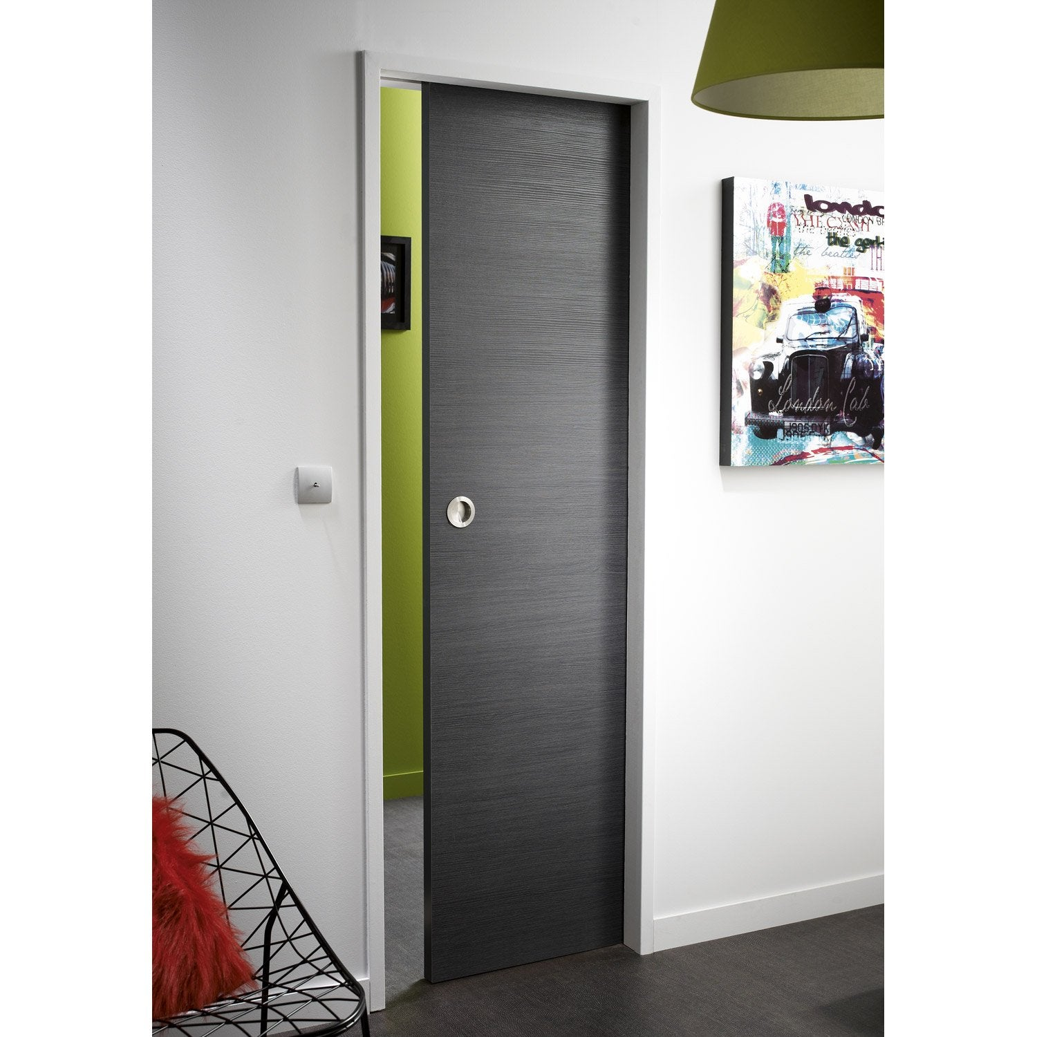 Ensemble porte coulissante londres mdf rev tu avec for Porte coulissante miroir leroy merlin