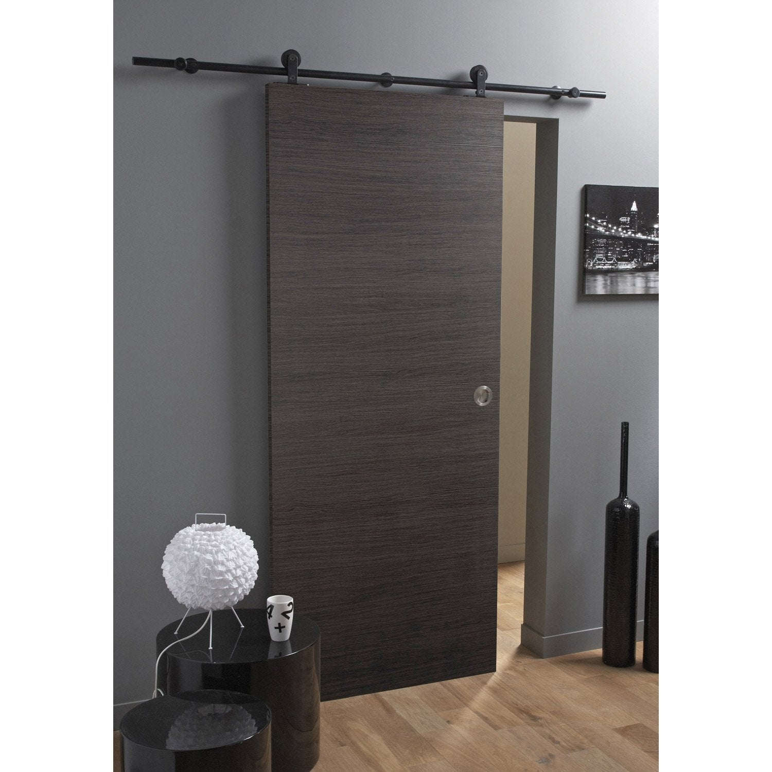 ensemble porte coulissante londres mdf rev tu avec le rail bol ro noir aluminium leroy merlin. Black Bedroom Furniture Sets. Home Design Ideas