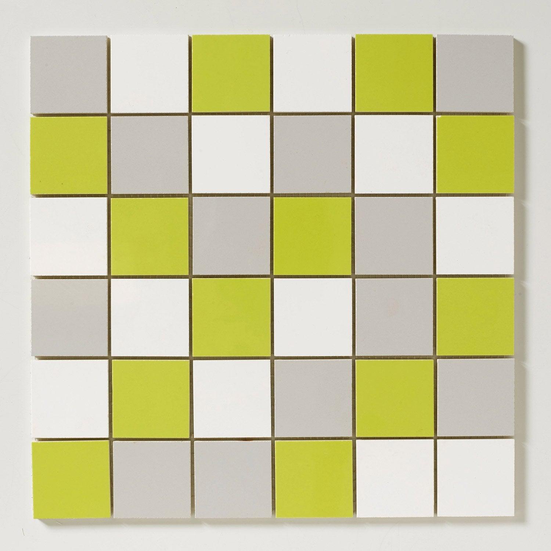 mosa que mur astuce mix vert blanc et gris leroy merlin. Black Bedroom Furniture Sets. Home Design Ideas
