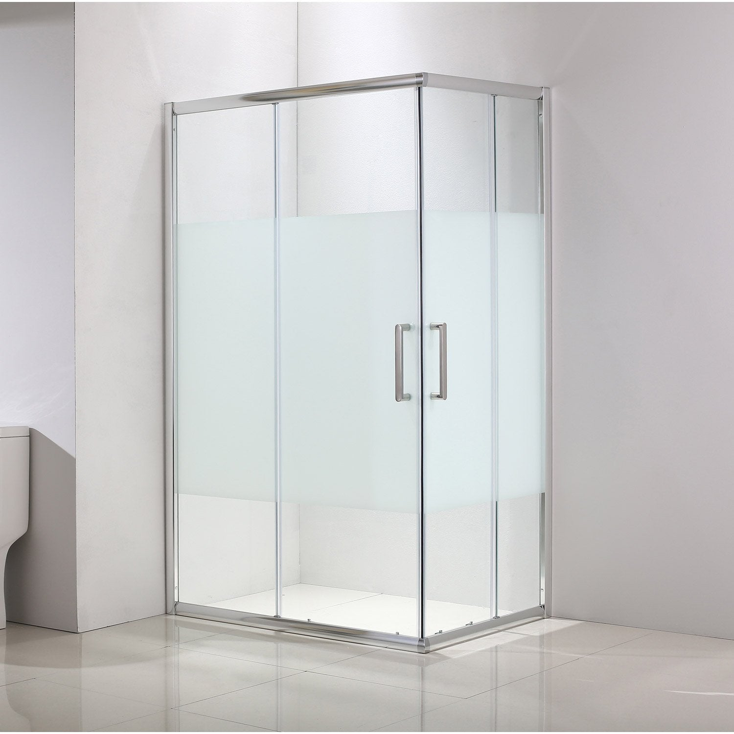 Porte de douche coulissante angle rectangle 90 x 70 cm - Porte en verre leroy merlin ...