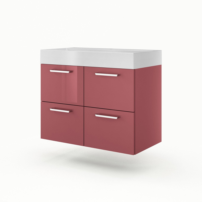 Meuble vasque 90 cm rouge neo line leroy merlin for Meuble salle de bain avec evier