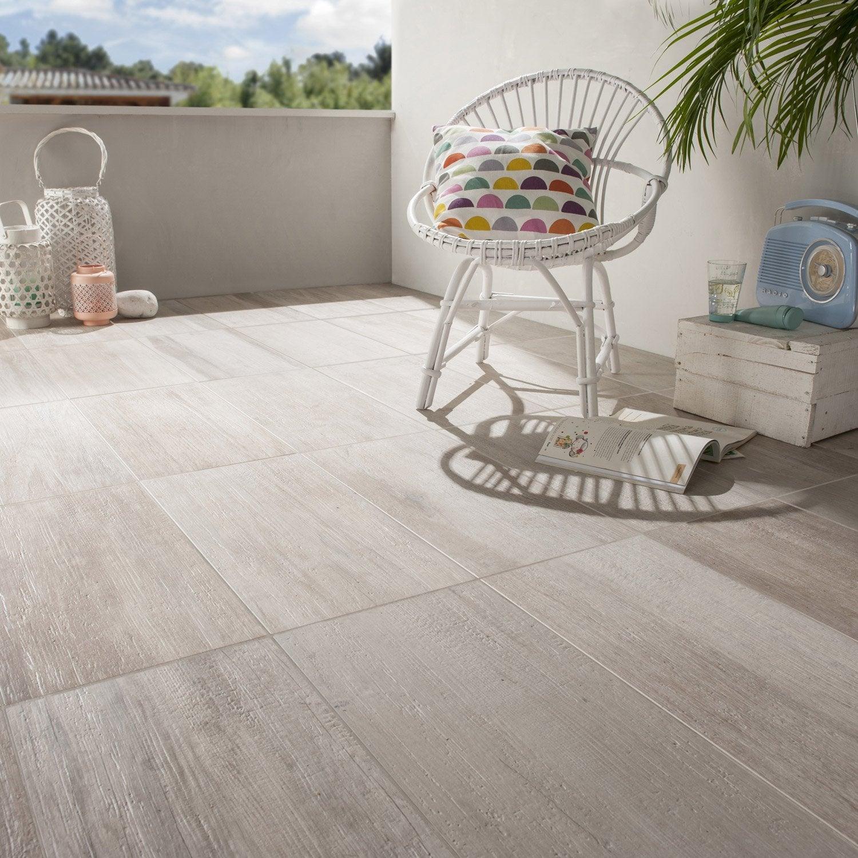Carrelage sol blanc effet bois way x cm leroy for Carrelage sol exterieur leroy merlin