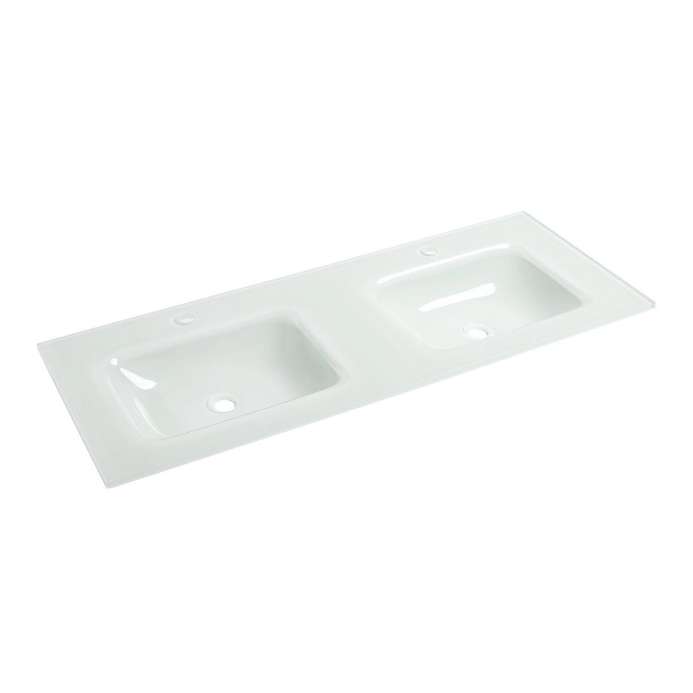 Plan vasque double ice verre 121 cm leroy merlin - Plan double vasque verre trempe ...