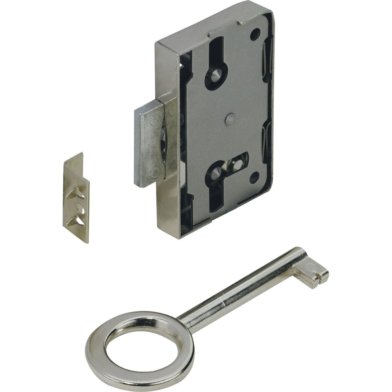 Serrure en acier pour portes de meuble axe 25 mm leroy for Serrure meuble ancien