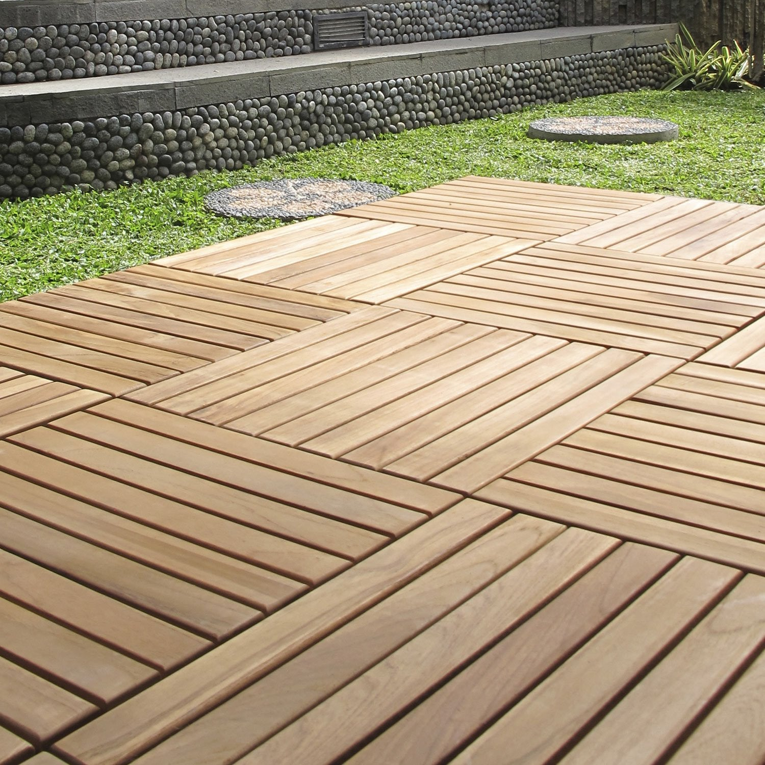 Dalle clipsable en teck marron naturel miel l 40 x l 40 - Dalle clipsable terrasse ...