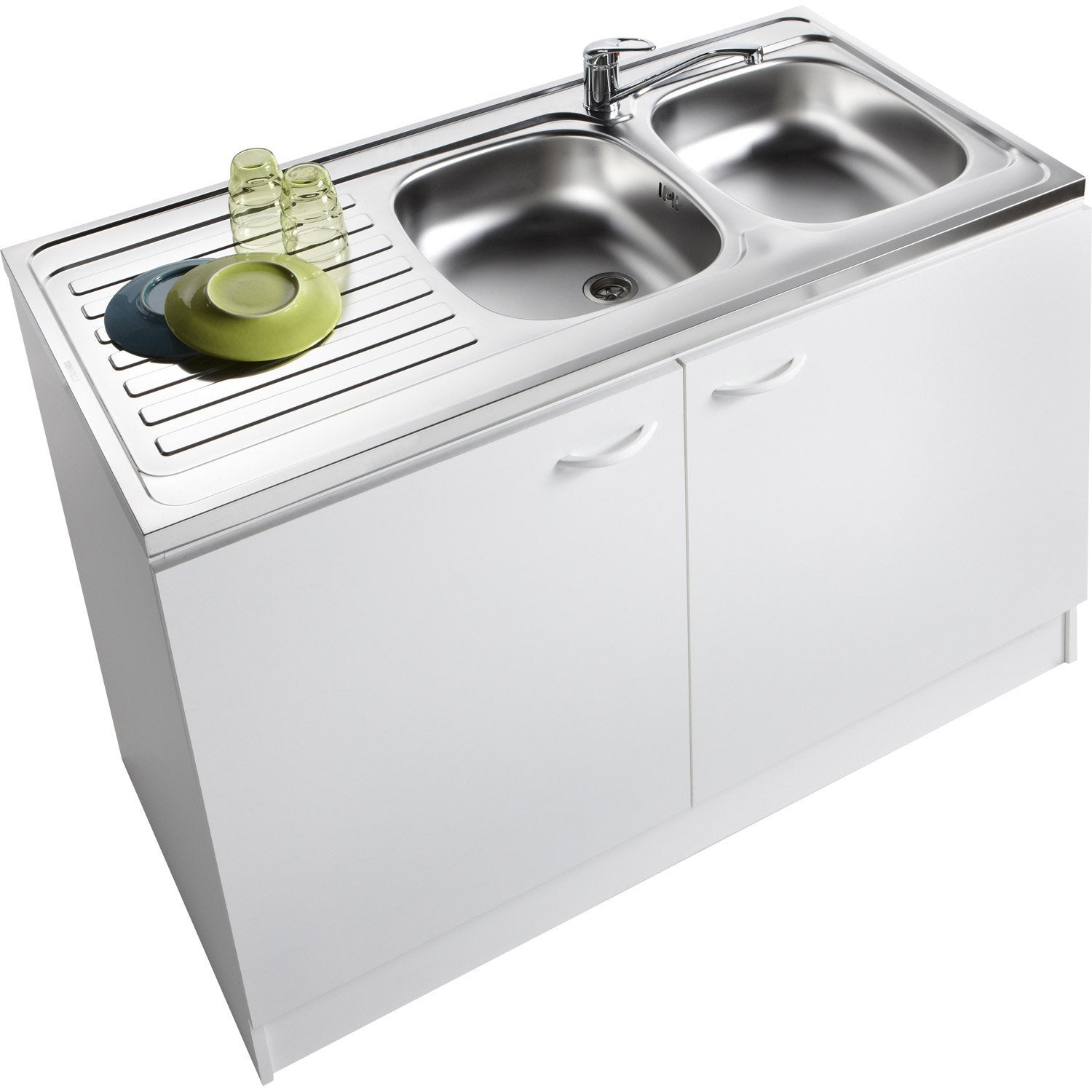 Meuble de cuisine sous vier 2 portes blanc h86x l120x for Dimension evier double bac