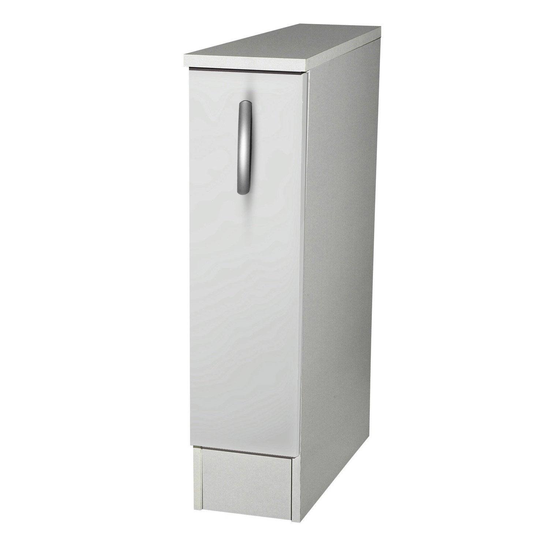 Meuble de cuisine bas 1 porte blanc h86 x l15 x p60 cm - Meuble cuisine 60 cm largeur ...