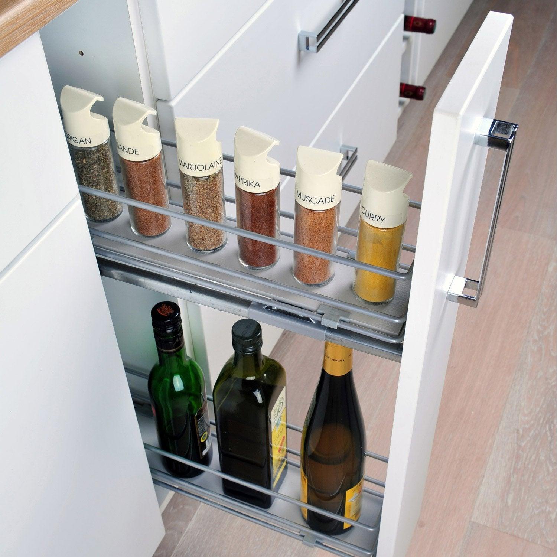 Rangement coulissant epices et bouteilles pour meuble for Portes elements cuisine leroy merlin