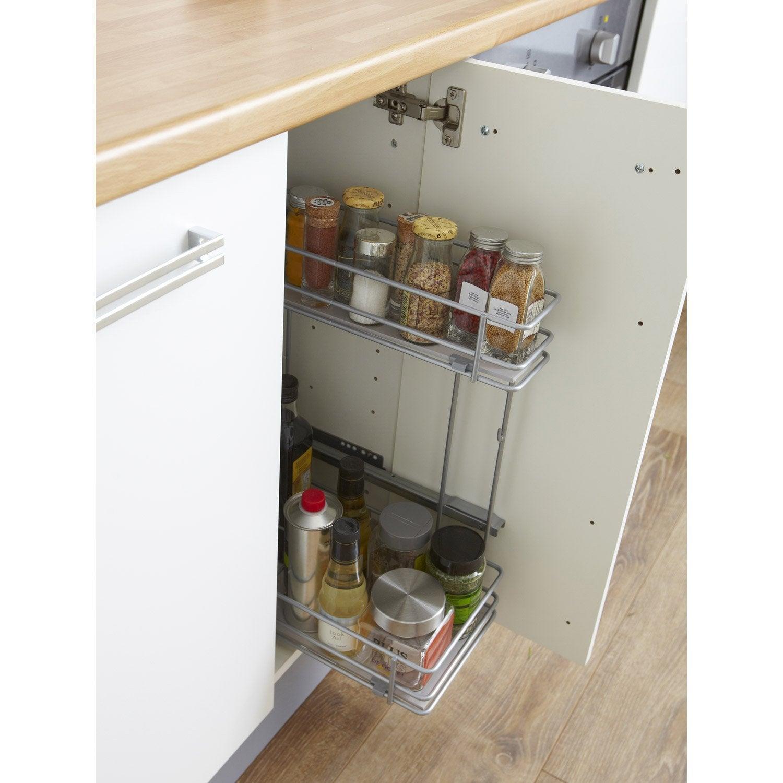 Rangement coulissant 2 paniers lat raux pour meuble for Amenagement interieur pour meuble de cuisine