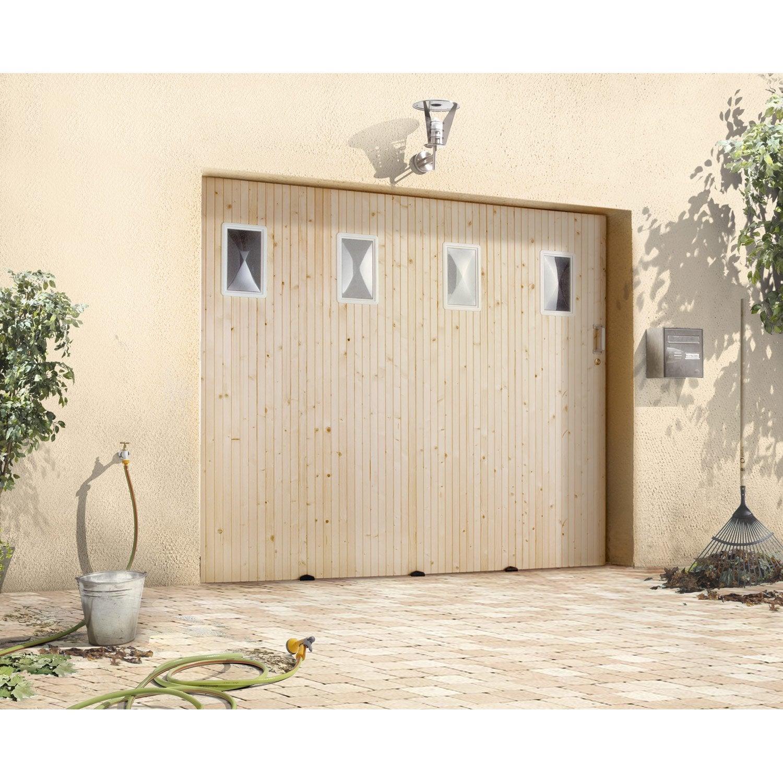 Porte de garage coulissante avec hublot primo sapin 200 x 240cm leroy merlin - Porte de garage leroy merlin ...