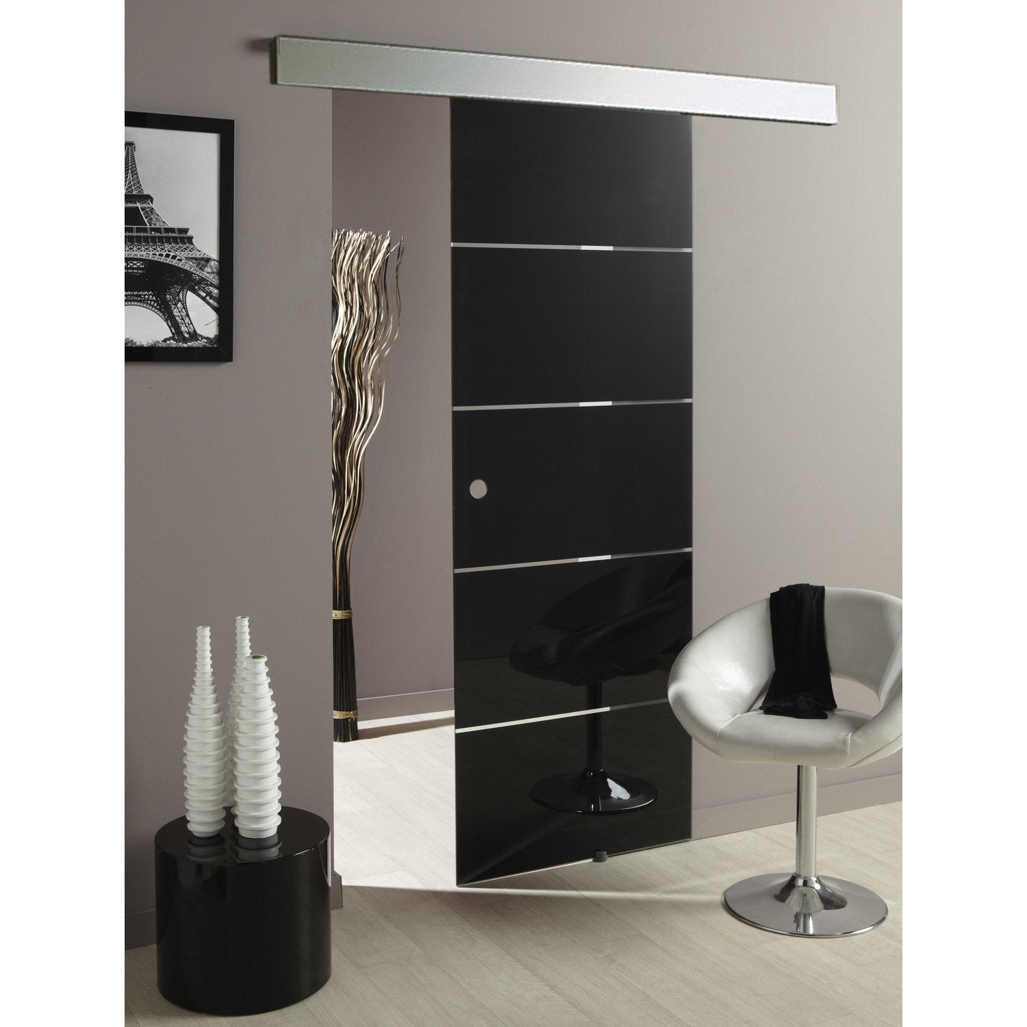 Ensemble porte coulissante miami verre avec le rail for Porte en verre leroy merlin