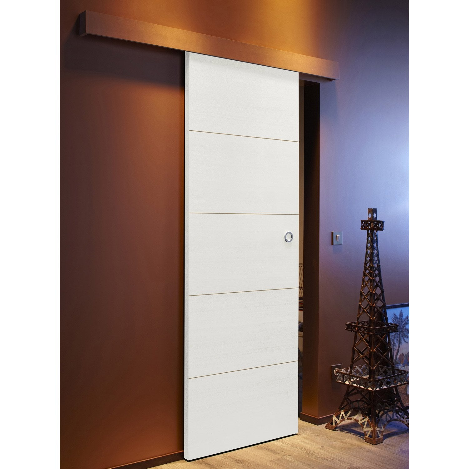 Ensemble porte coulissante milan avec le rail tango en for Deco porte leroy merlin