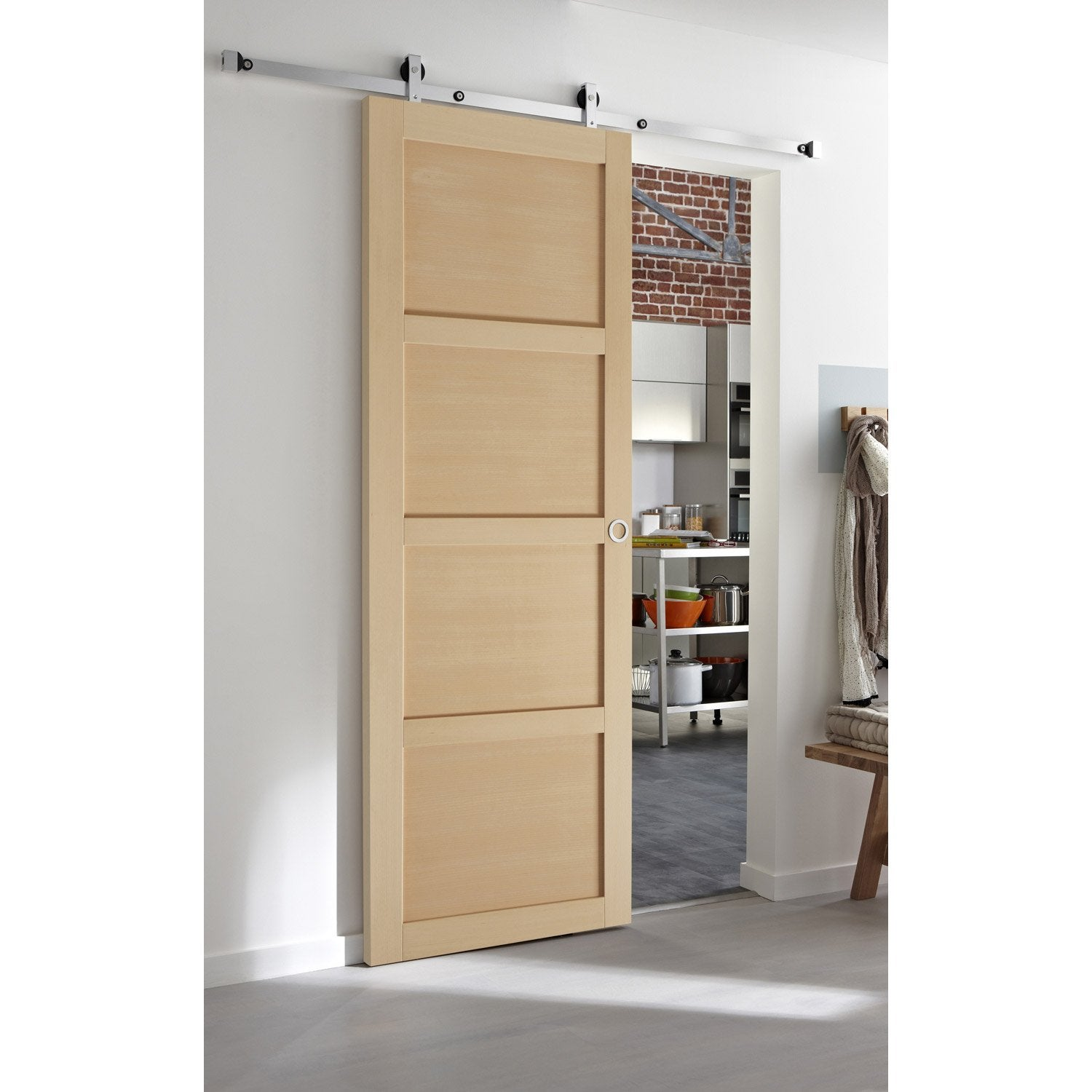 Ensemble porte coulissante nova h tre avec le rail modern for Porte coulissante suspendu