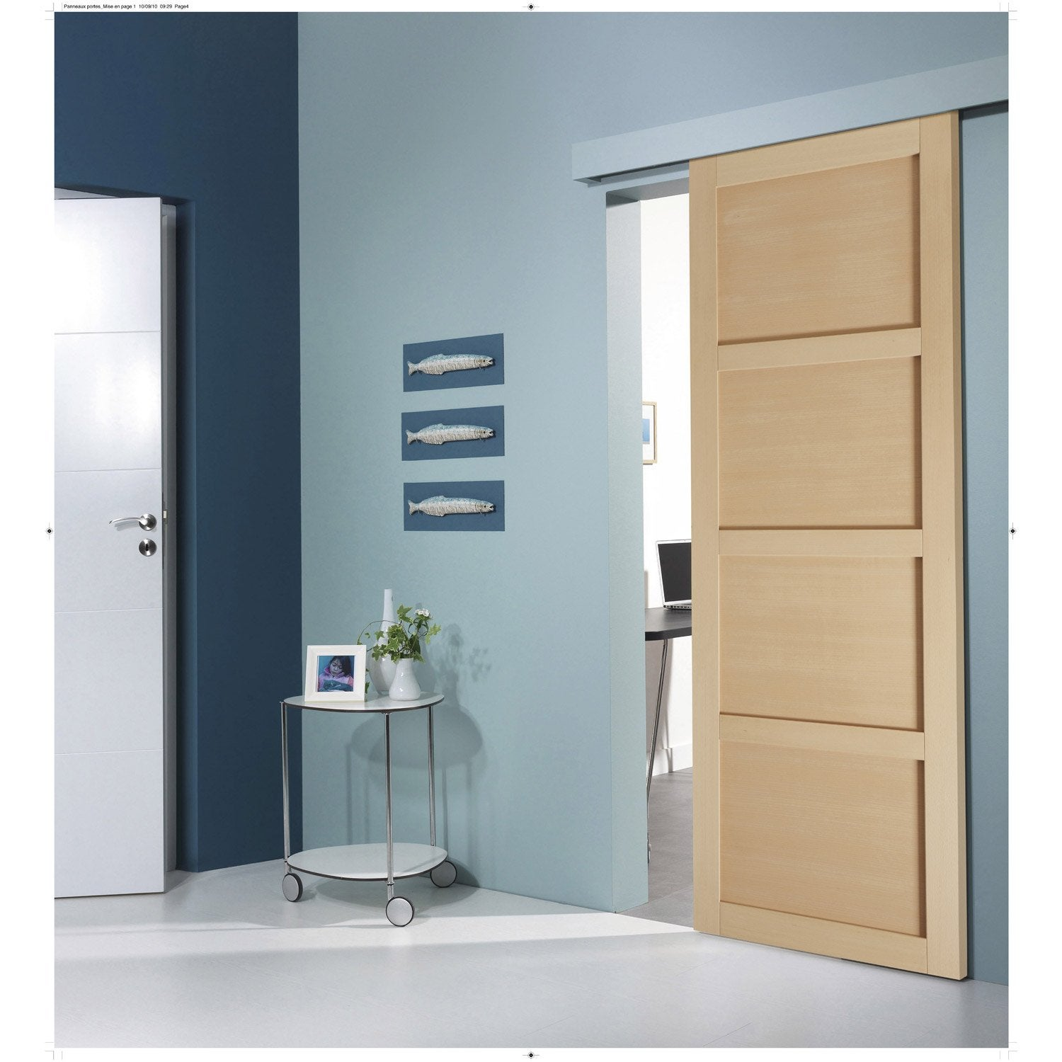 Ensemble porte coulissante nova h tre avec le rail turbo 2 for Porte en verre leroy merlin