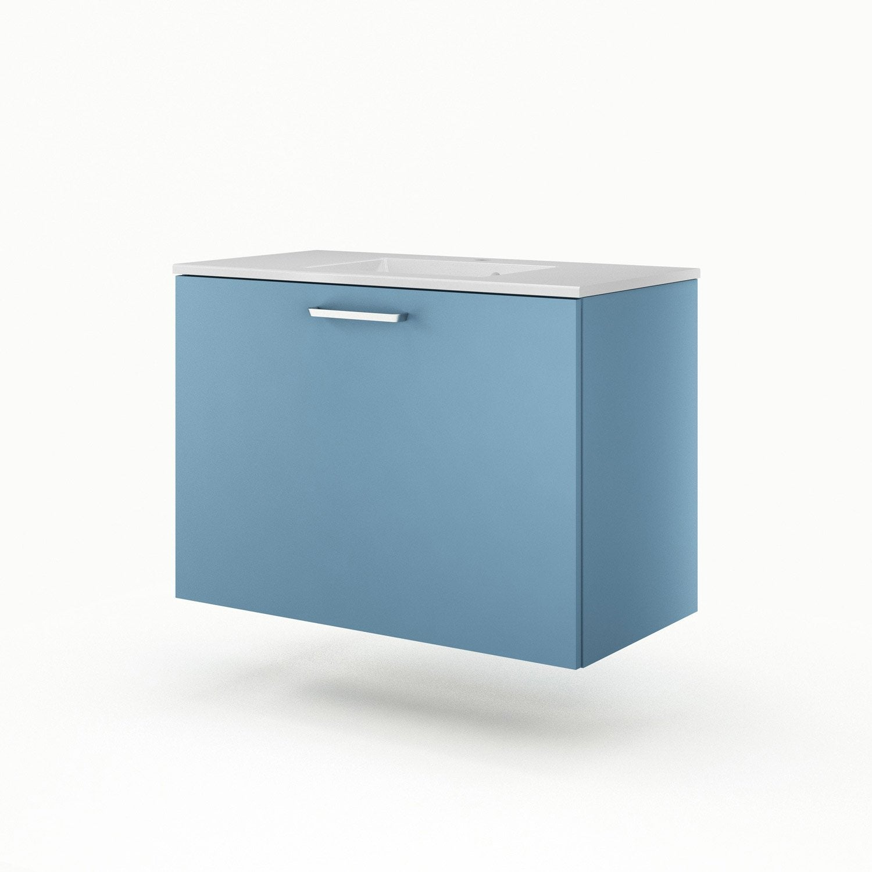 Meuble sous vasque x x cm bleu sensea neo - Meuble sous vasque leroy merlin ...