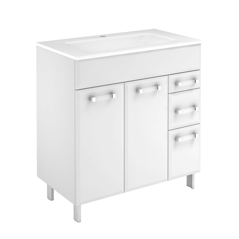 Meuble vasque x x cm blanc opale for Vasque encastrable leroy merlin