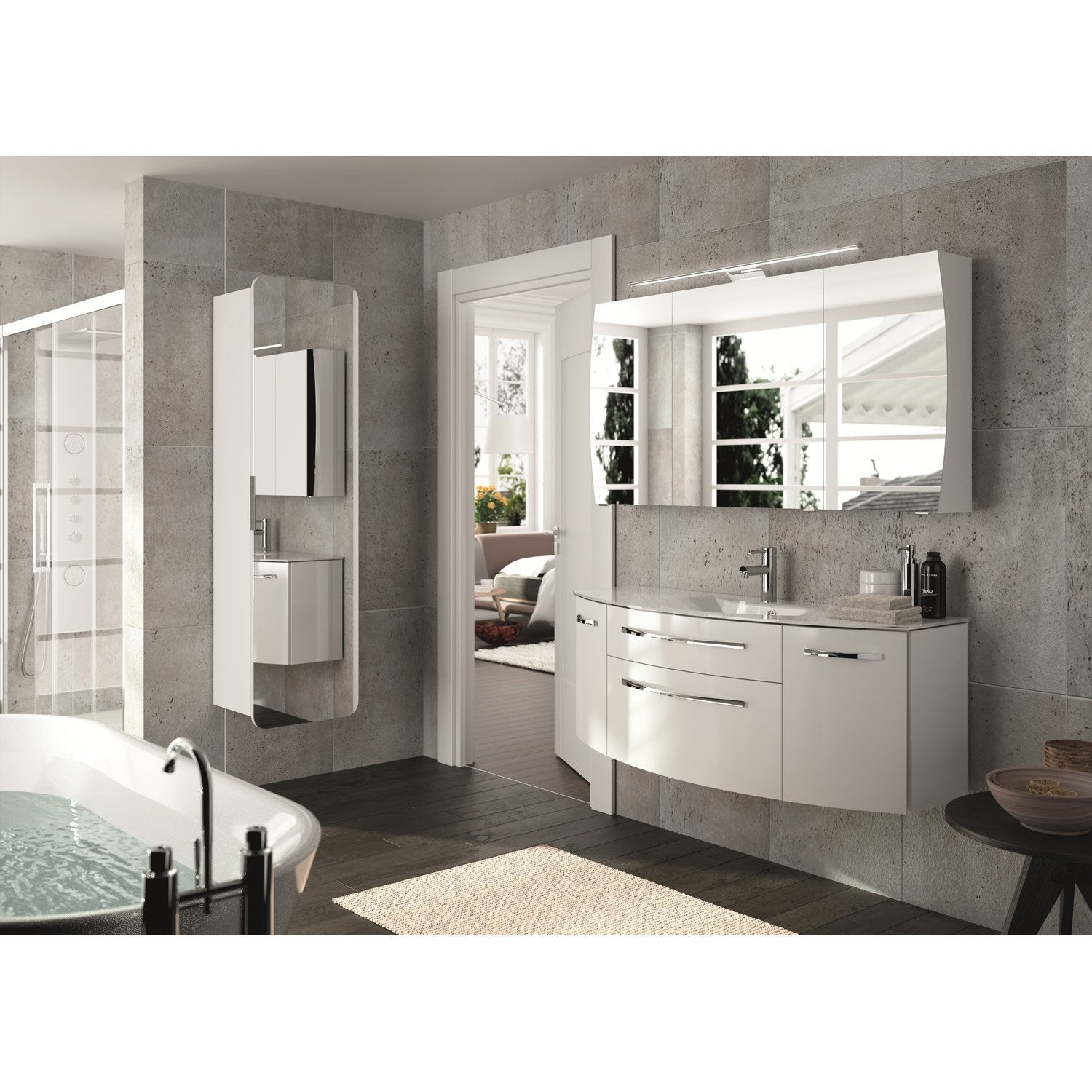 meuble de salle de bains plus de 120 blanc beige naturels image leroy merlin. Black Bedroom Furniture Sets. Home Design Ideas
