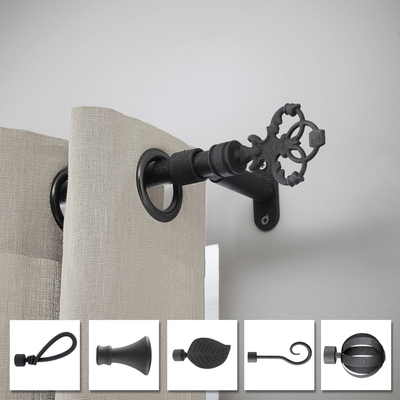 tringle rideau composer inspire cosy ff d20 noir fer forg mm leroy merlin. Black Bedroom Furniture Sets. Home Design Ideas