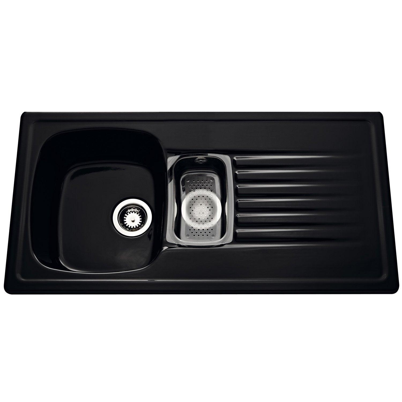 Evier encastrer c ramique noir kara 1 5 bac avec - Carrelage ceramique leroy merlin ...