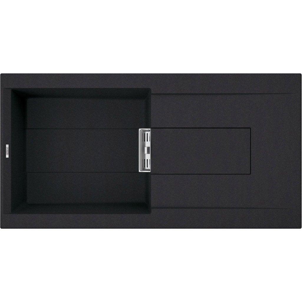 evier encastrer quartz et r sine noir slim 1 grand bac avec gouttoir leroy merlin. Black Bedroom Furniture Sets. Home Design Ideas